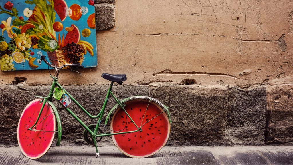 Unique watermelon bicycle